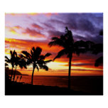 Hawaiian sunset poster print