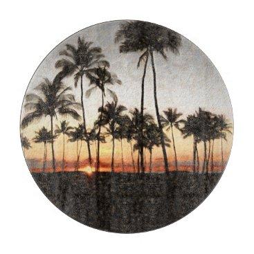 Hawaiian Sunset Rock Painting Cutting Board