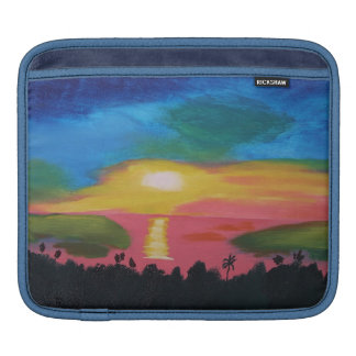 Hawaiian Sunset Sky Original Acrylic Painting Sleeves For iPads
