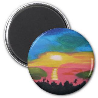 Hawaiian Sunset Sky Original Acrylic Painting Magnet