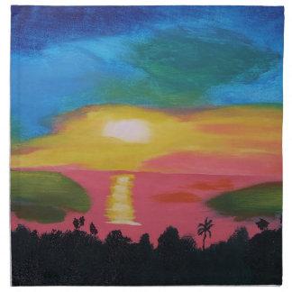 Hawaiian Sunset Sky Original Acrylic Painting Napkin