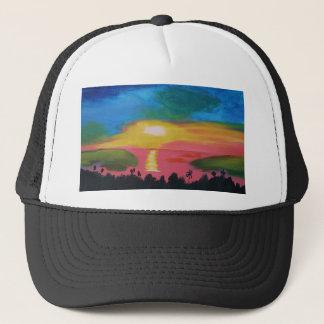 Hawaiian Sunset Sky Original Acrylic Painting Trucker Hat