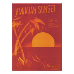Hawaiian Sunset Vintage Songbook Cover Poster