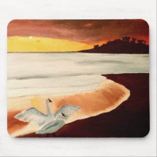 Hawaiian Sunset Water Birds at beach mousepad art