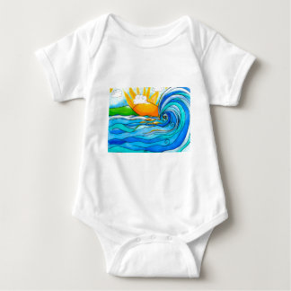 Hawaiian Surf Art - The Big Wave Baby Bodysuit