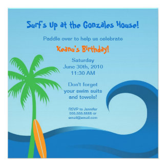 Hawaiian Surf Birthday Invitation - 5 25 x 5 25