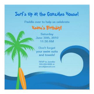 Hawaiian Surf  Birthday Invitation - 5.25 x 5.25