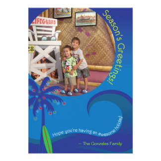 Hawaiian Surf Christmas Photo Card 5 x 7 Invite