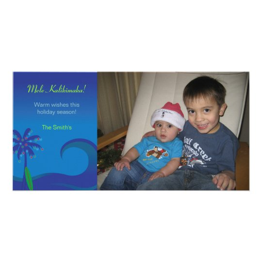 Hawaiian Surf Christmas Photo Card - Horizontal