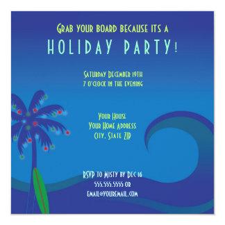 """Hawaiian Surf Holiday Party Invitation 5.25"""" Square Invitation Card"""