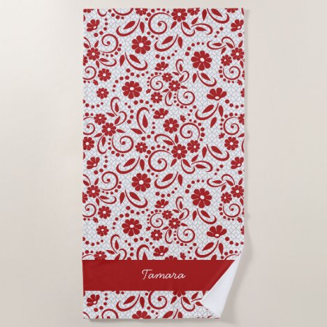 Hawaiian surfer chic red beach towel