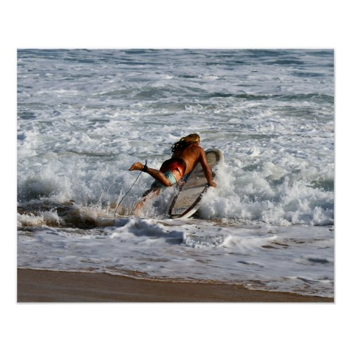 Hawaiian Surfer Dives In Poster
