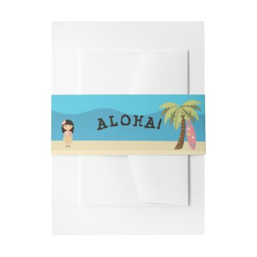 Hawaiian Surfer Girl Invitation Belly Band