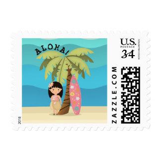 Hawaiian Surfer Girl Postage