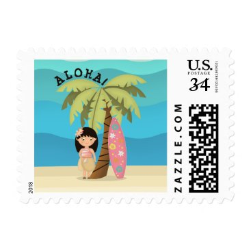 Beach Themed Hawaiian Surfer Girl Postage