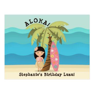 Beach Themed Hawaiian Surfer Girl Postcard