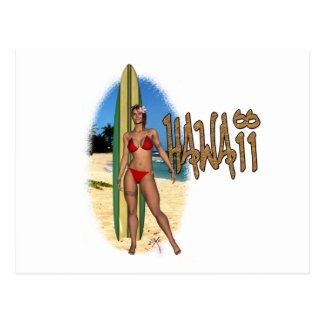 Hawaiian Surfer Girl Postcard