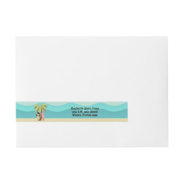Beach Themed Hawaiian Surfer Girl Wrap Around Address Label
