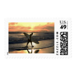 Hawaiian Surfer Heading Home at Sunset Postage Stamps