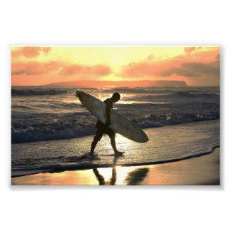 Hawaiian Surfer Heading Home Photo Print