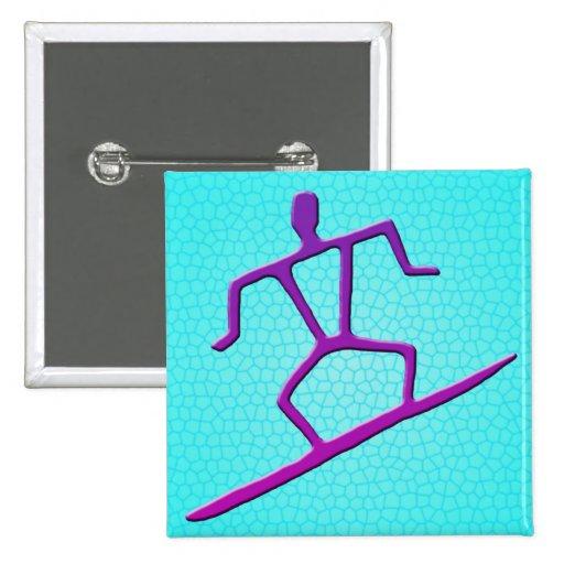 Hawaiian Surfer Petroglyph Button
