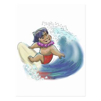 hawaiian surfer postcard