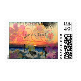 Hawaiian Surfers at Sunset/save date/DIY postage