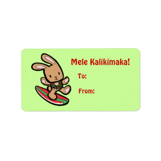 Hawaiian Surfing Bunny Christmas Gift Tag Personalized Address Labels