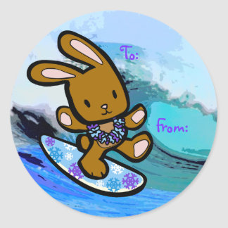 Hawaiian Surfing Bunny Christmas Gift Tag Sticker