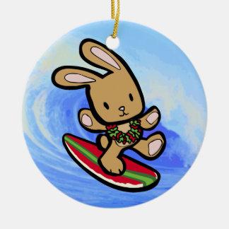 Hawaiian Surfing Bunny Christmas Ornament
