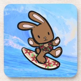 Hawaiian Surfing Bunny Holiday Cartoon Beverage Coaster
