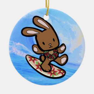 Hawaiian Surfing Bunny Holiday Cartoon Ceramic Ornament