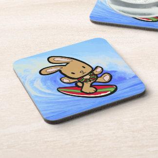 Hawaiian Surfing Bunny Holiday Cartoon Coaster