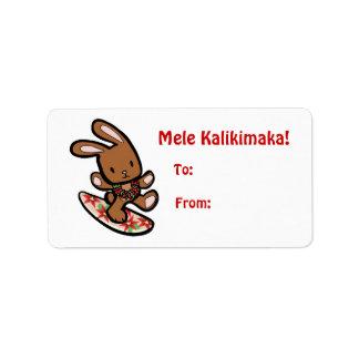 Hawaiian Surfing Bunny Holiday Cartoon Label
