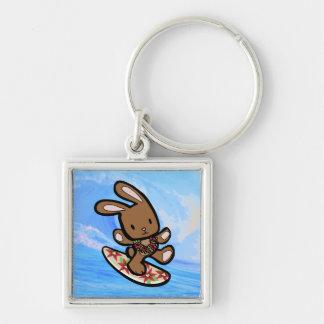 Hawaiian Surfing Bunny Holiday Cartoon Silver-Colored Square Keychain
