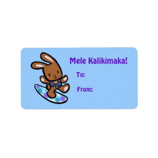 Hawaiian Surfing Bunny Holiday Gift Tag Personalized Address Label