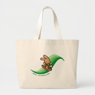 Hawaiian Surfing Bunny Holiday Green Cartoon Band Jumbo Tote Bag