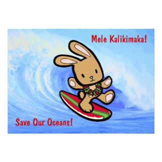 Hawaiian Surfing Bunny Holiday Invitations