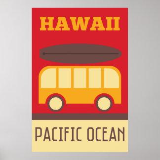 Hawaiian Surfing Bus Poster