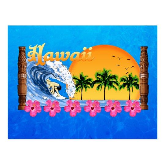 Hawaiian Surfing Postcard