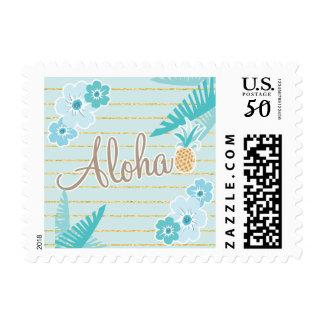 Hawaiian, Teal, Aloha Postage