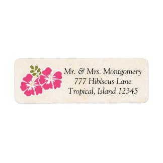 Hawaiian temático tropical del hibisco fucsia etiqueta de remite