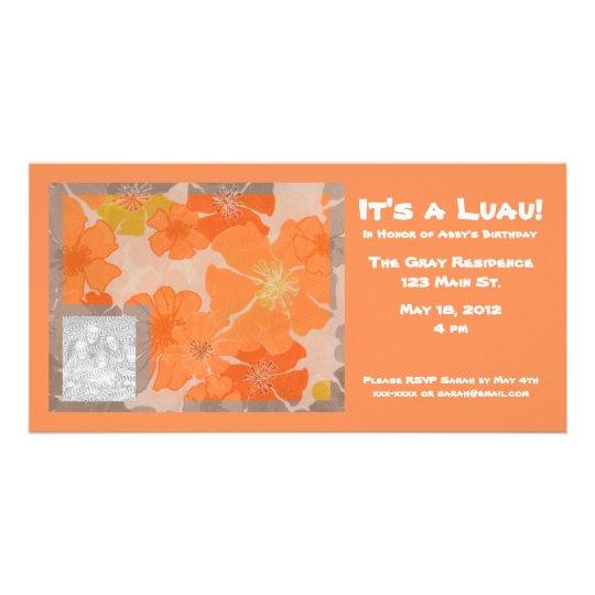 Hawaiian Theme Party Photo Insert Polynesian Luau Card