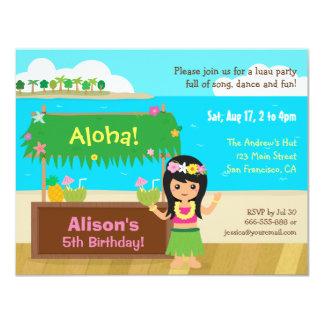 Hawaiian Themed Hula Girl Luau Birthday Party 4.25x5.5 Paper Invitation Card