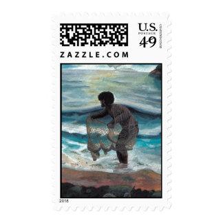 hawaiian throw net fisherman postage