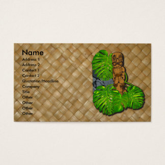 Hawaiian Tiki Lauhala Business Cards