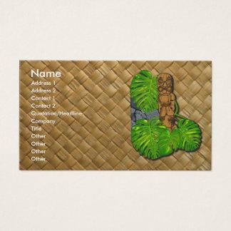 Hawaiian Tiki Lauhala Business Cards