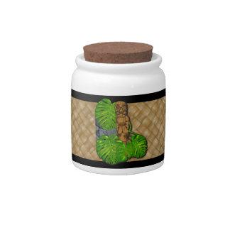 Hawaiian Tiki Lauhala Jars Candy Dish