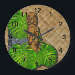 "Hawaiian Tiki Lauhala Wall Clock<br><div class=""desc"">By Demolitionman for Moon Art and Designs. Customize to fit your needs.</div>"