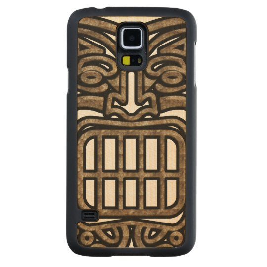 hawaiian tiki mask carved maple galaxy s5 slim case zazzle com